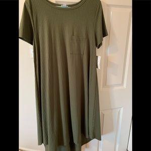 NWT LuLaRoe Carly Dress Sz L; Army Green